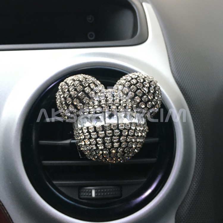 Swarovski Crystal Mickey Mouse Car Air Fresher Vent Clip Black Silver