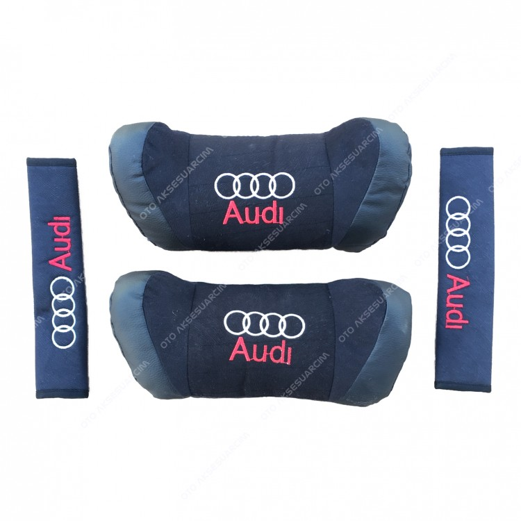 Audi Car Seat Head Neck Pillow Set Leather Black