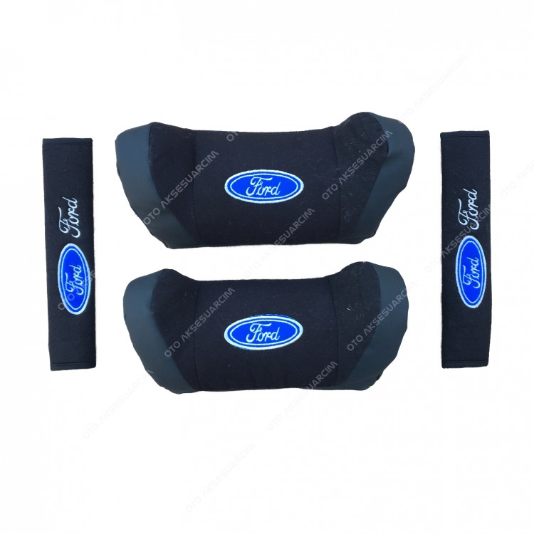 Ford Car Seat Head Neck Pillow Set Leather Black