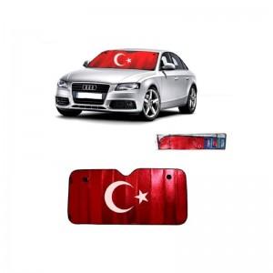 Türk Bayraklı Metalize Oto Ön Cam Güneşliği 130x60cm