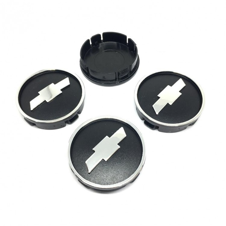 Chevrolet Embossed Black Grey Wheel Center Caps 4pcs 55mm