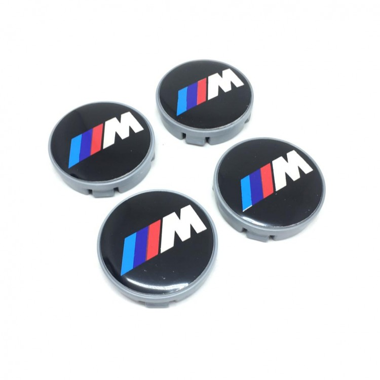 Bmw-M Metallic Wheel Center Caps 4pcs 55mm