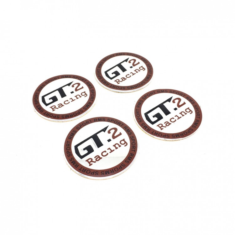 GT2 Racing Aluminum Sticker Wheel Center Caps 4pcs 60mm