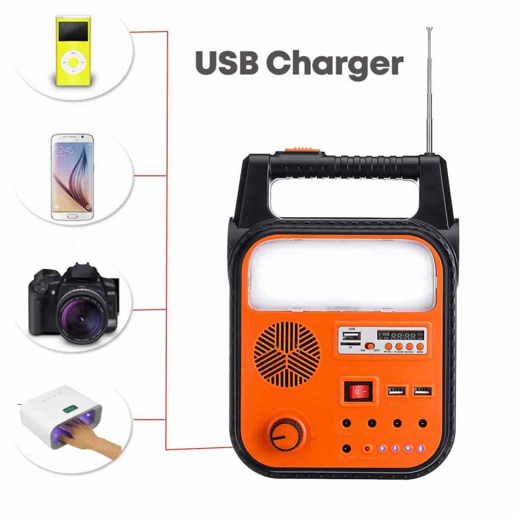 GS902P Solar Powered Rechargeable Camping Lamp With BT USB Radio
