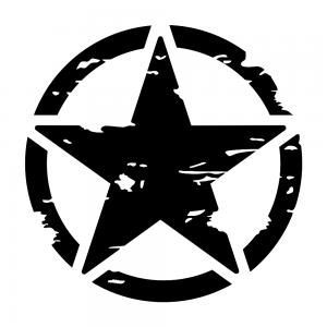 Army Star Askeri Yıldız Oto Sticker Siyah 22x22cm