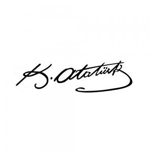 K.Atatürk İmzalı Oto Sticker Siyah 20x7cm